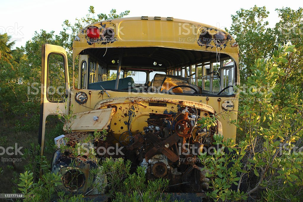Wrecked Schoolbus royalty-free stock photo