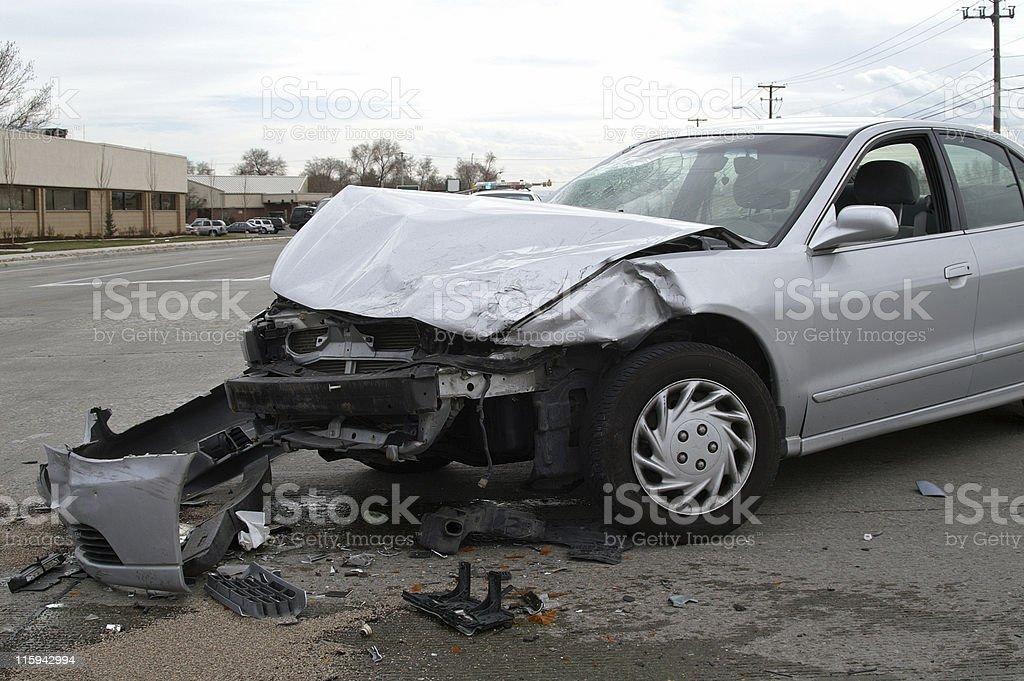 Wrecked Silver Car stock photo