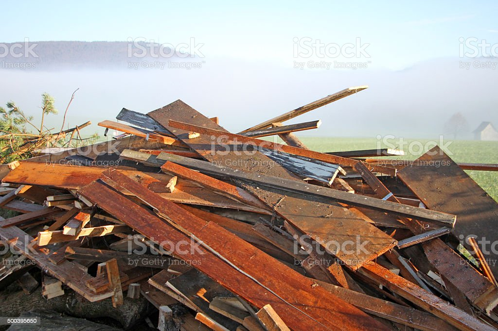 Wrecked Wood stock photo