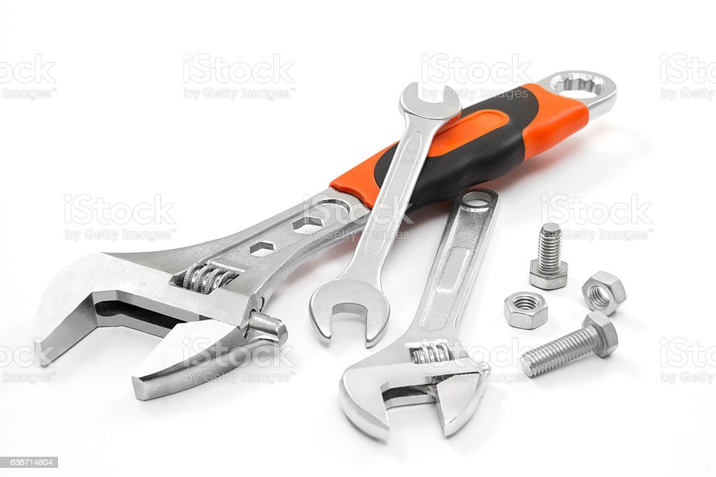 Wrench and Screw stock photo