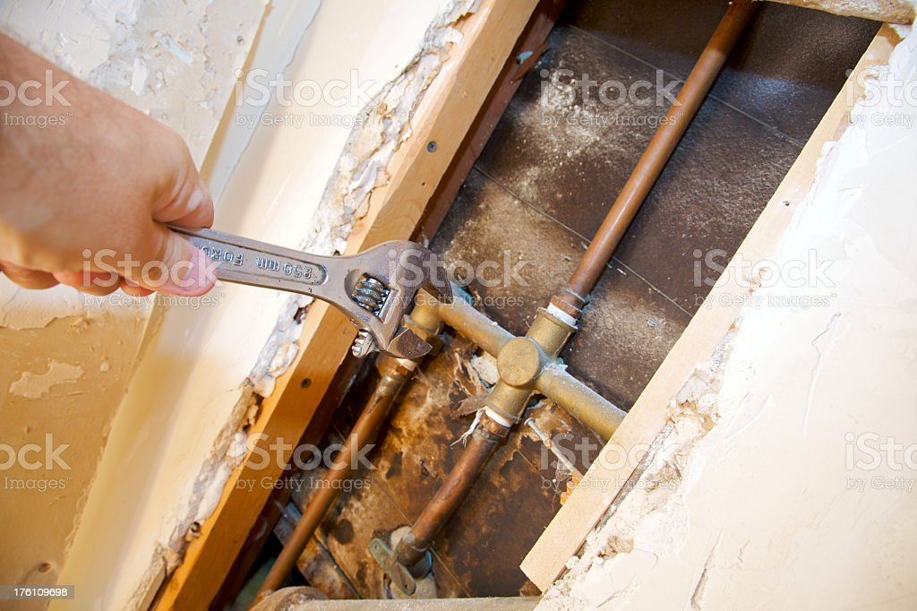 Wrench for Tub Repair royalty-free stock photo