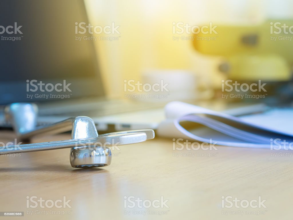 wrench on desk office of surveyor man. Construction industry concept stock photo
