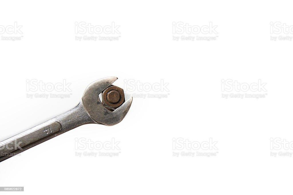 wrench on white background stock photo