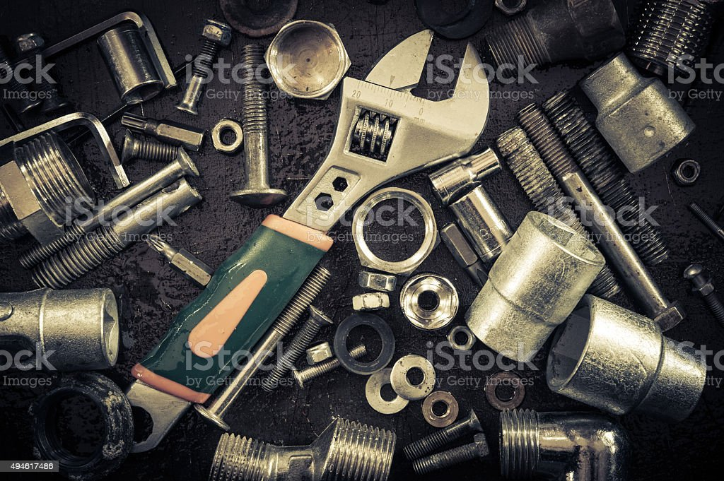 Wrench, screws, nuts. stock photo