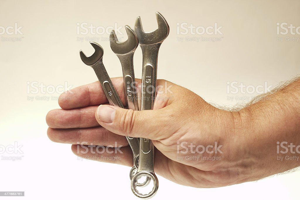 Wrenches in Hand royalty-free stock photo