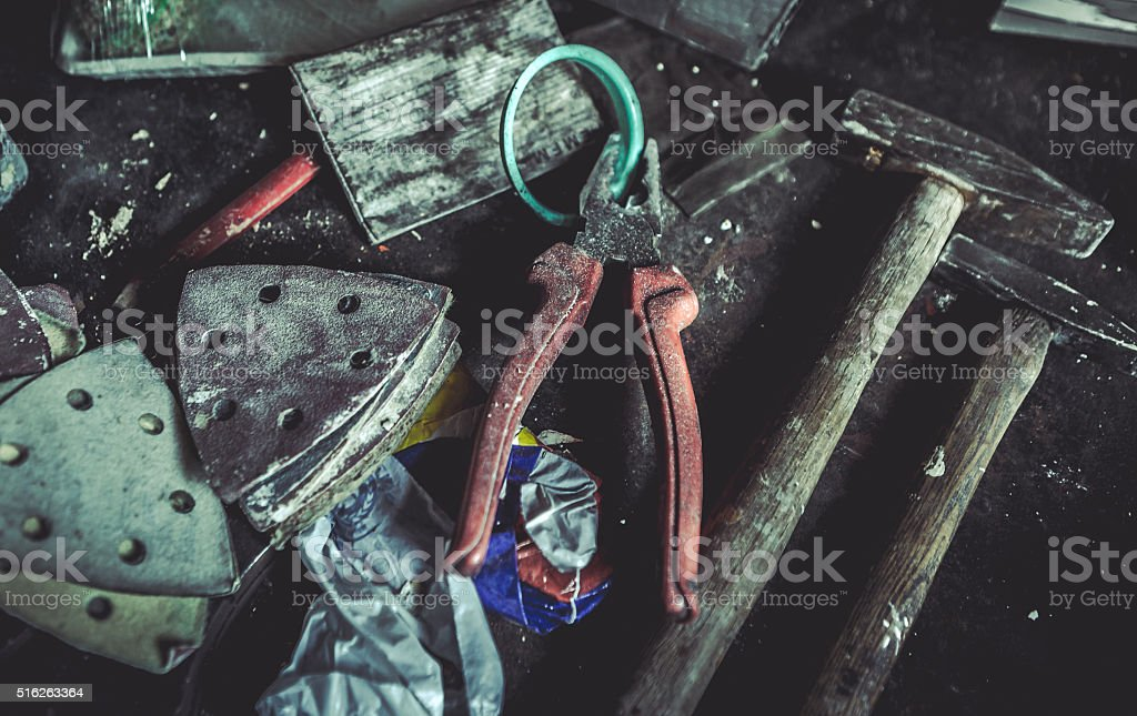 Wrenches in the workshop stock photo