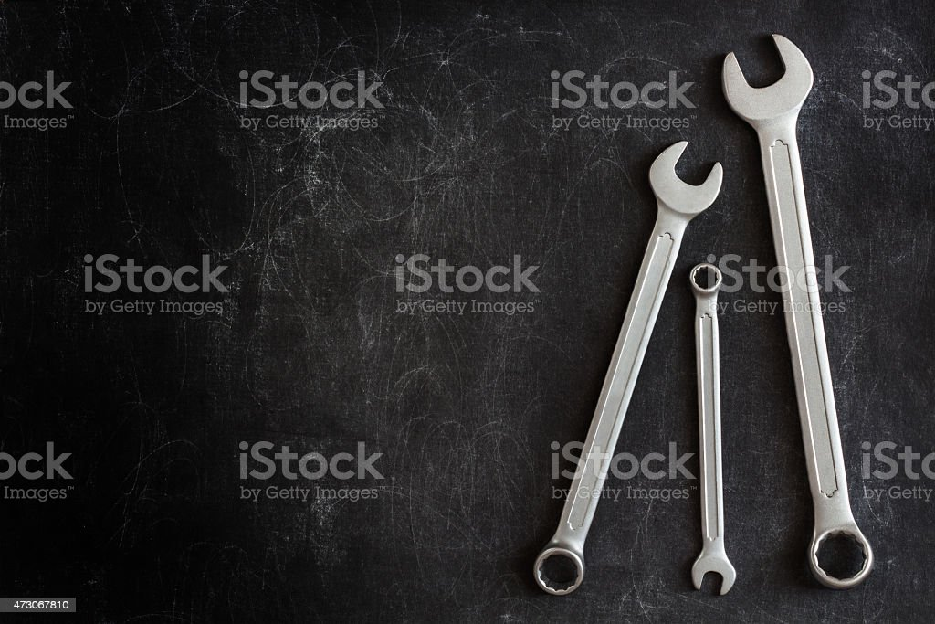 Wrenches on a dark background stock photo