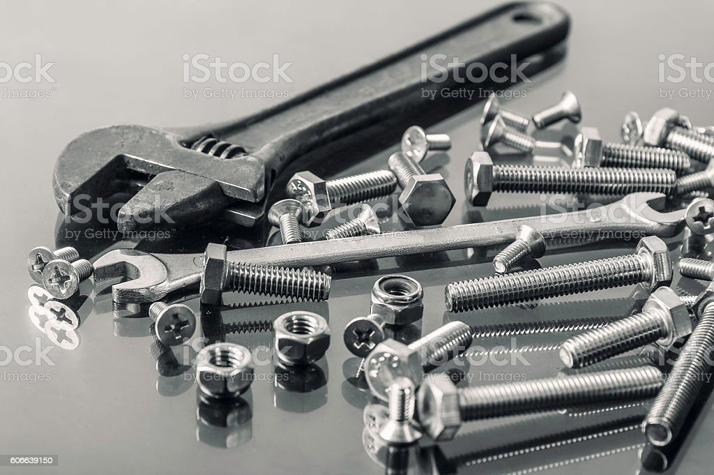 Wrenches tool, nuts and bolts stock photo