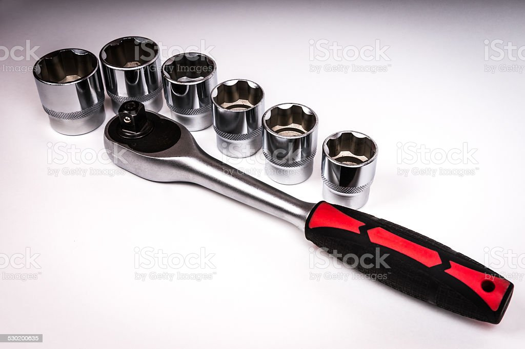 Wrench-ratchet with heads. stock photo