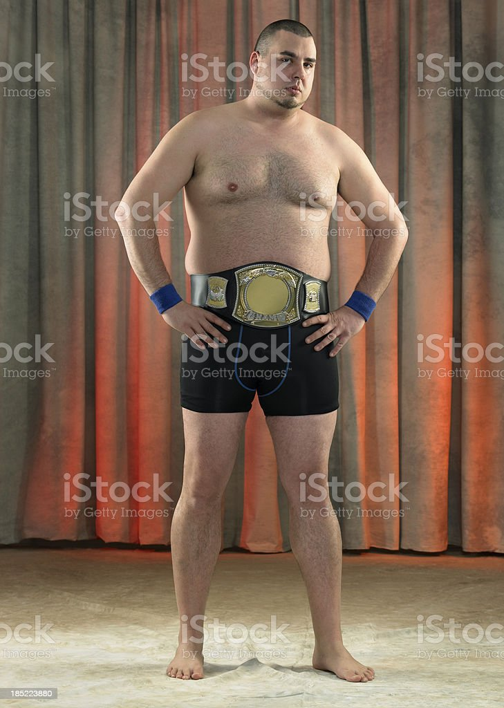 Wrestler looking at camera stock photo