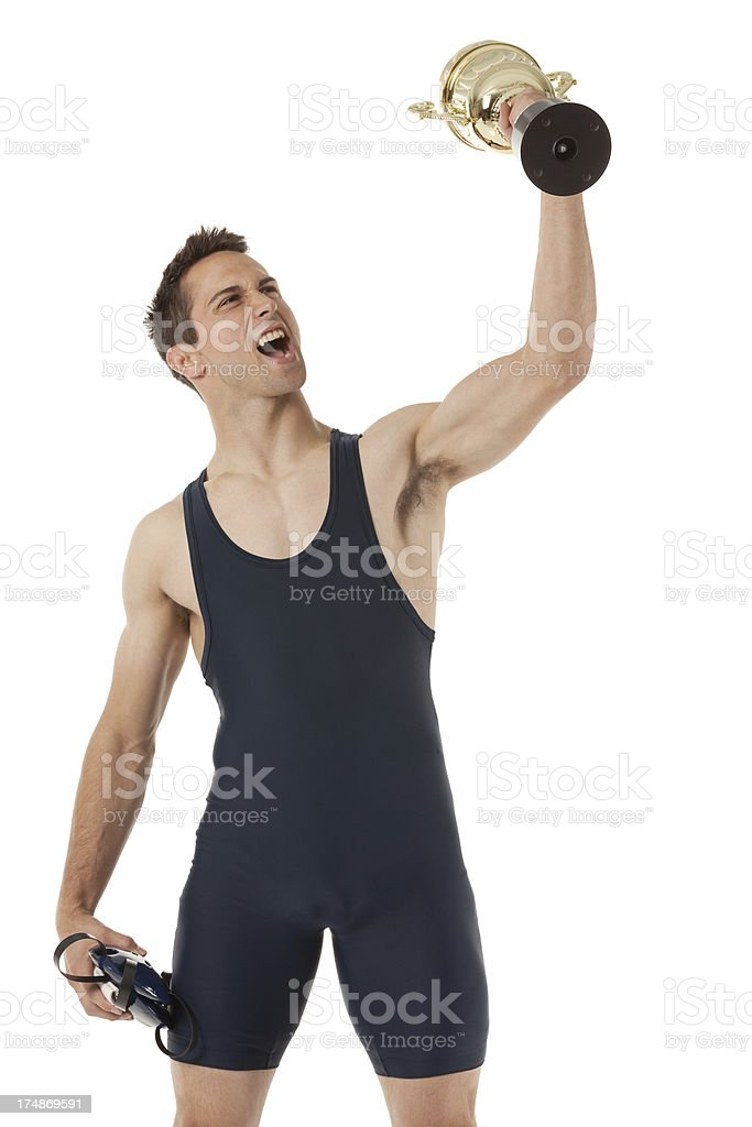 Wrestler with a trophy stock photo