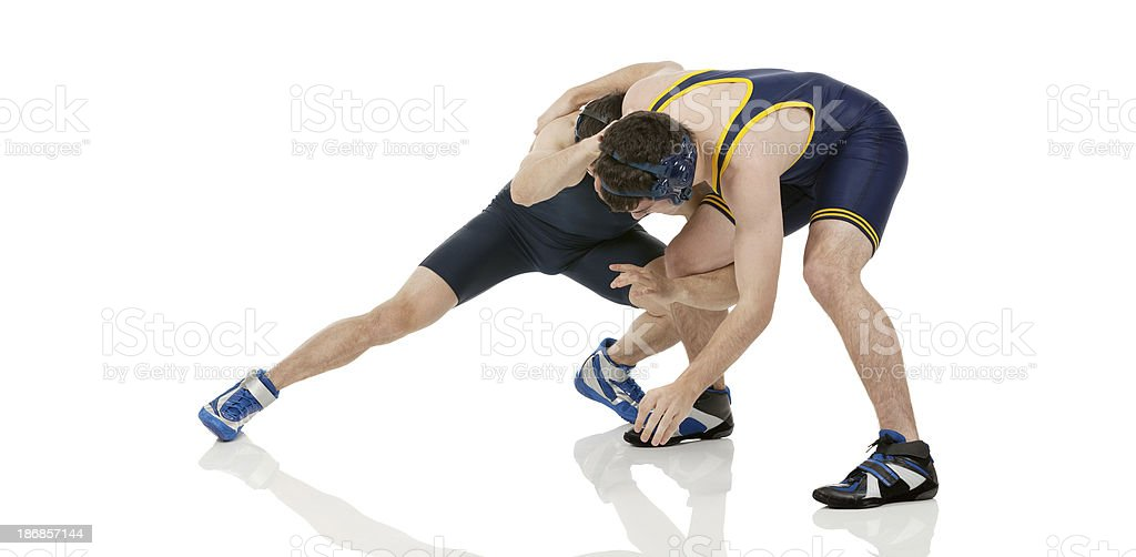 Wrestlers in action stock photo