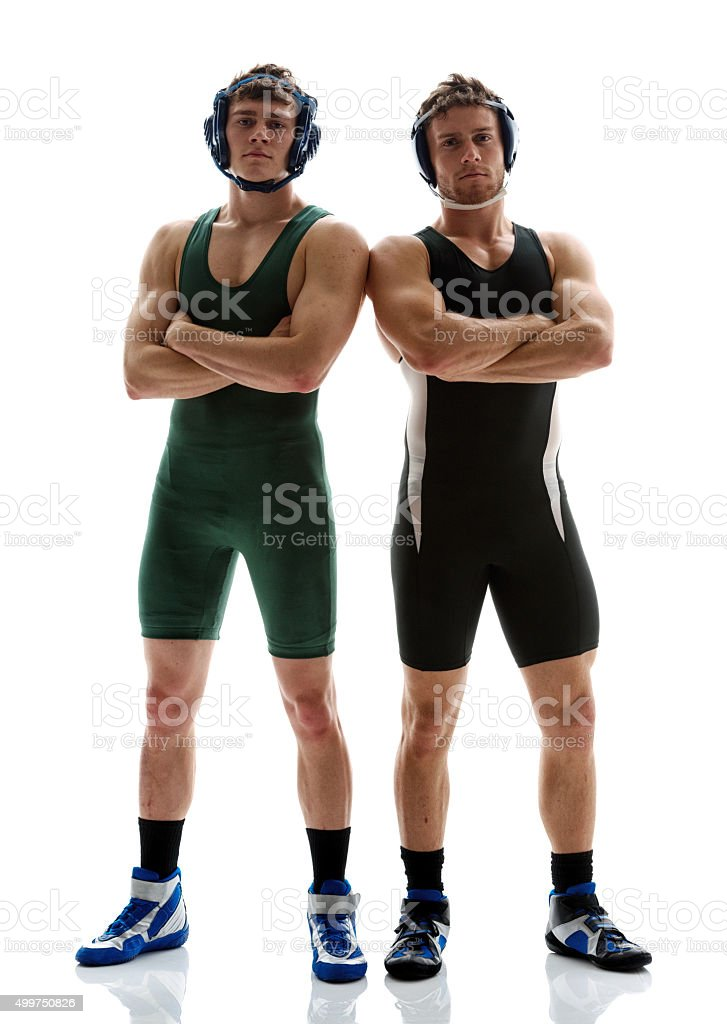 Wrestlers standing together stock photo