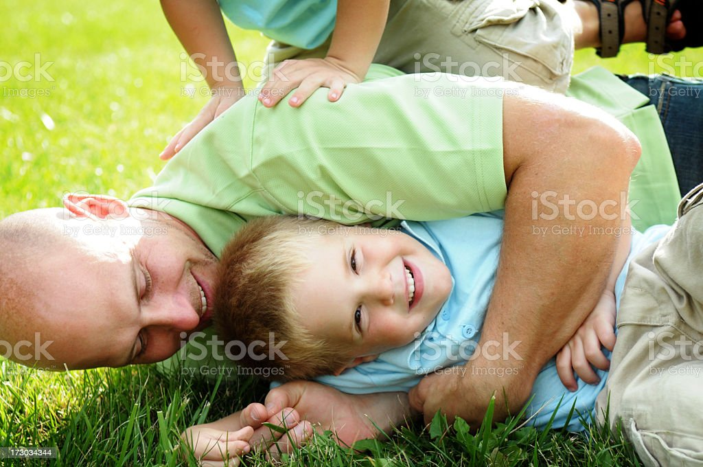 Wrestling with the Boys royalty-free stock photo