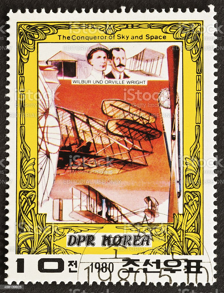 Wright Brothers Stamp stock photo