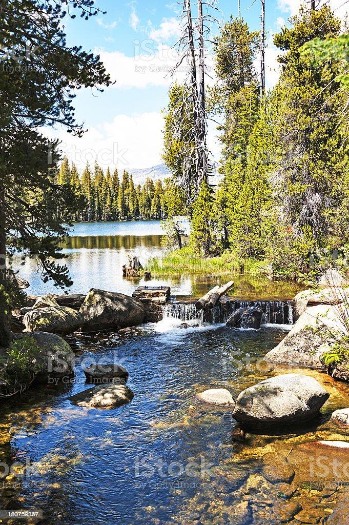 Wrights Lake Views with Waterfall royalty-free stock photo