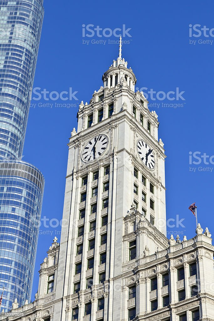 Wrigley and Trump Towers - day stock photo