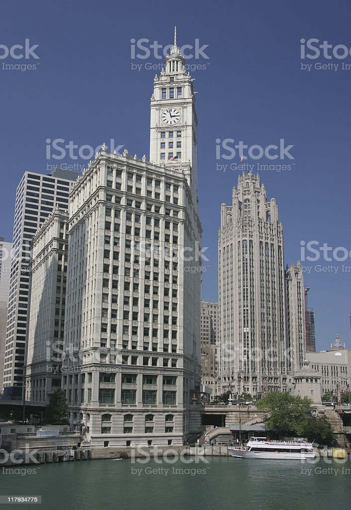 Wrigley Building and Chicago River stock photo