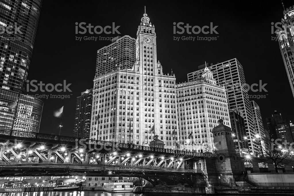 Wrigley Building at Night, downtown Chicago stock photo
