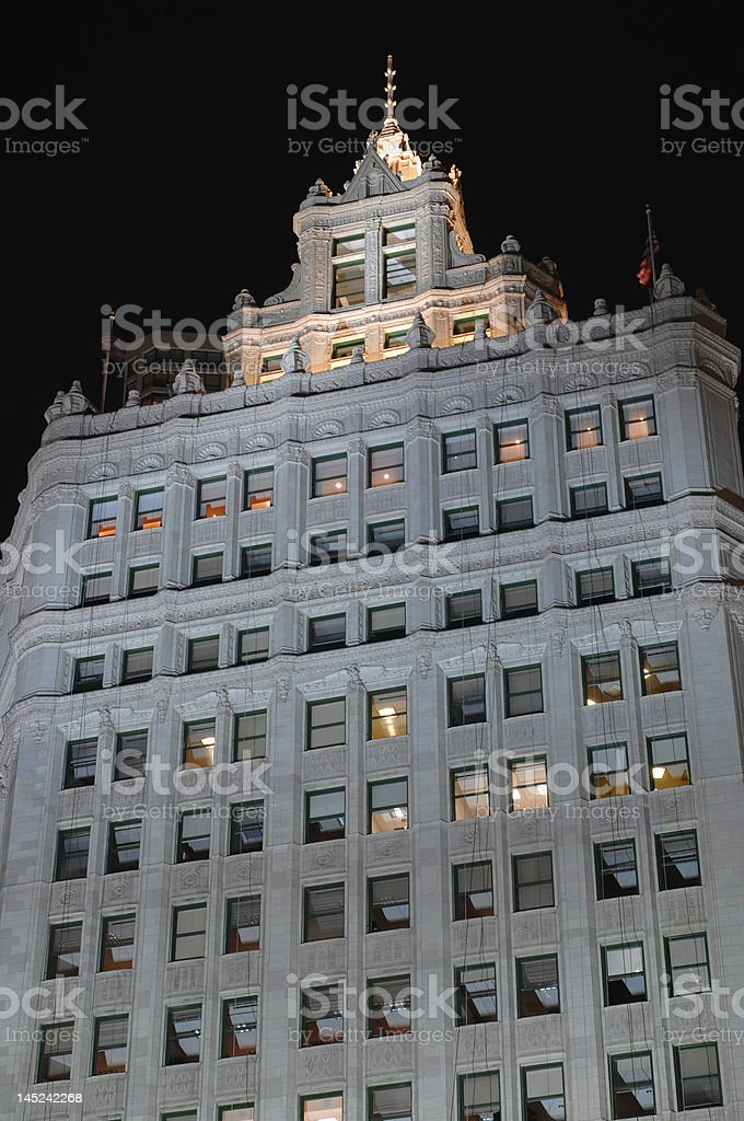 wrigley building at night stock photo