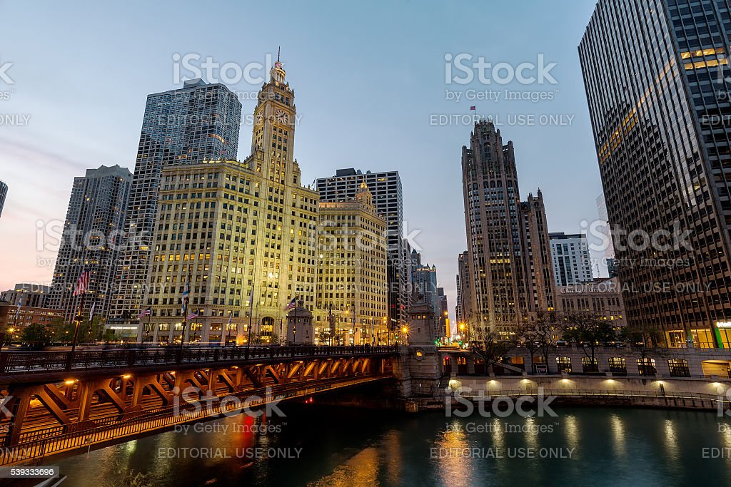Wrigley Building, Tribune Tower, and the Magnificent Mile stock photo