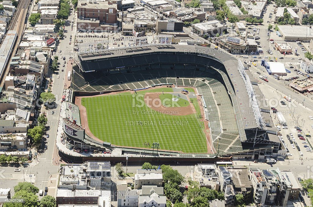 Wrigley Field stadium aerial view in chicago royalty-free stock photo