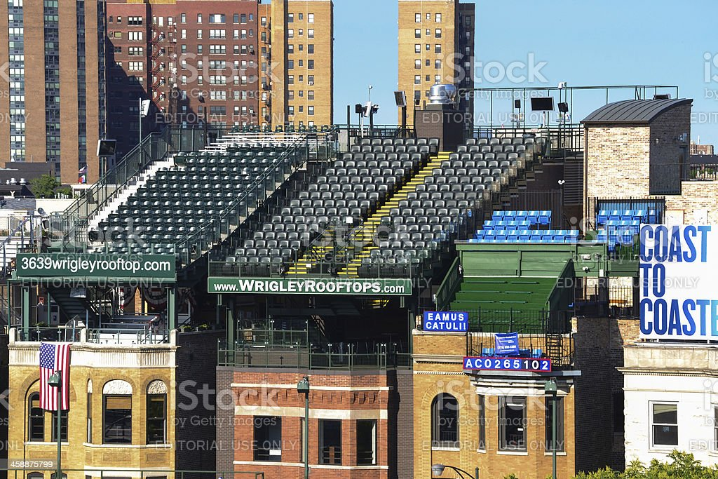 Wrigley Field Stadium - Outfield Rooftop Seats stock photo