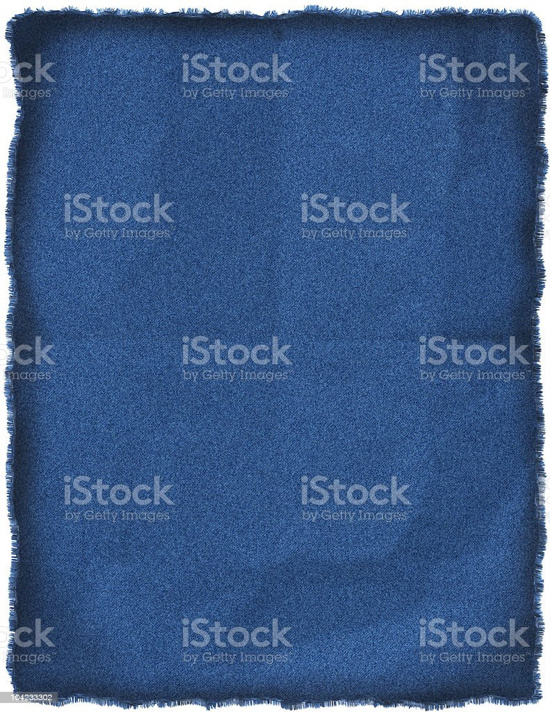 Wrinkled blue jeans patch stock photo