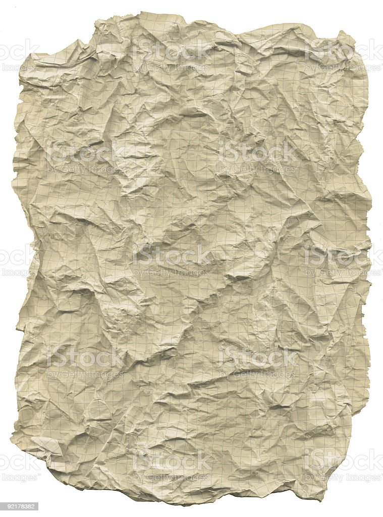 Wrinkled crumpled grid paper royalty-free stock photo