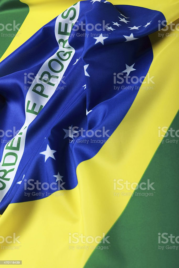 Wrinkled diagonal view of a Brazilian Flag stock photo