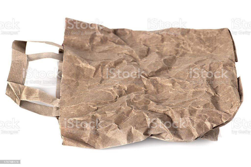 Wrinkled empty brown paper lunch bag royalty-free stock photo