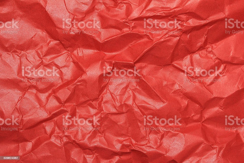 wrinkled red gloss paper stock photo