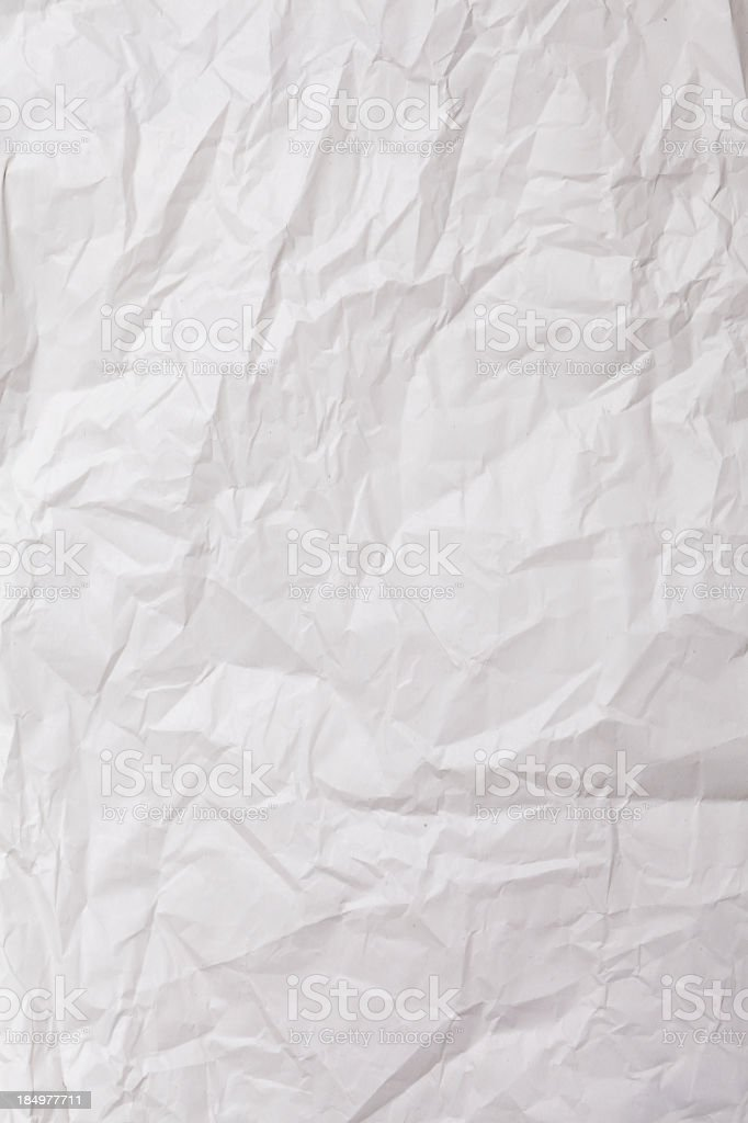 Wrinkled sheet of white paper royalty-free stock photo