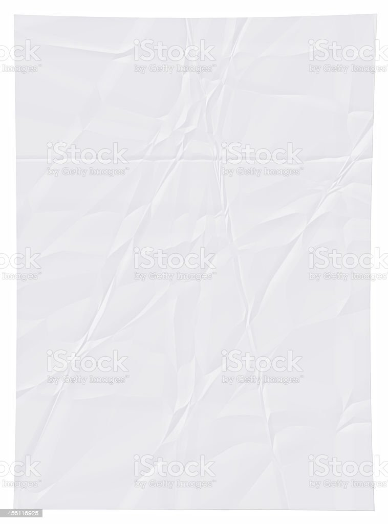 Wrinkled white paper. stock photo