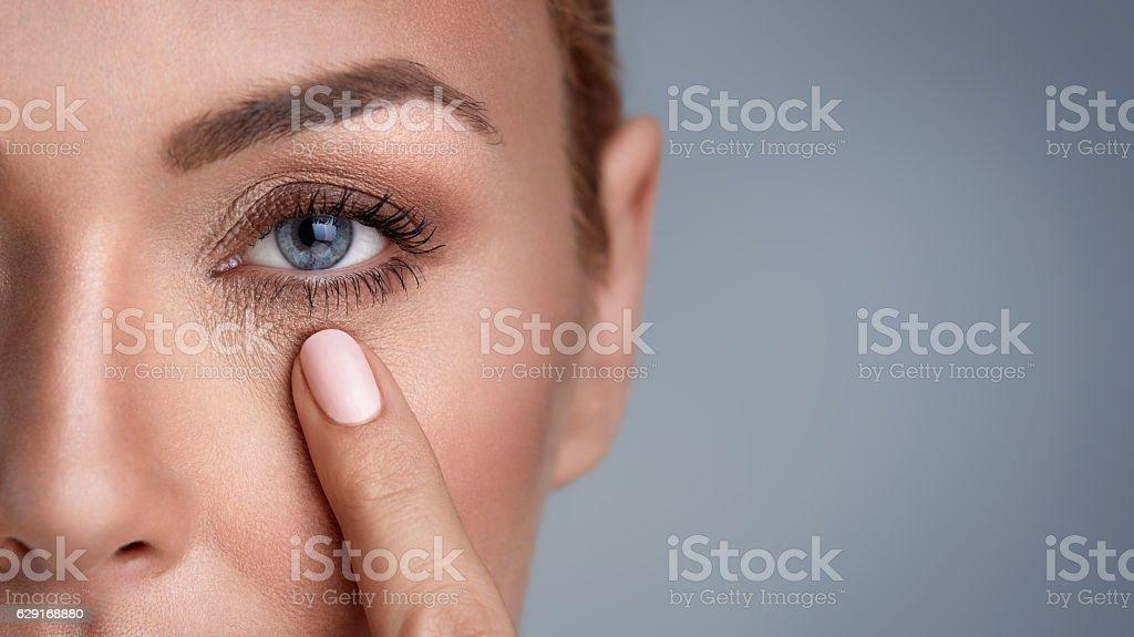 wrinkles around the eyes stock photo