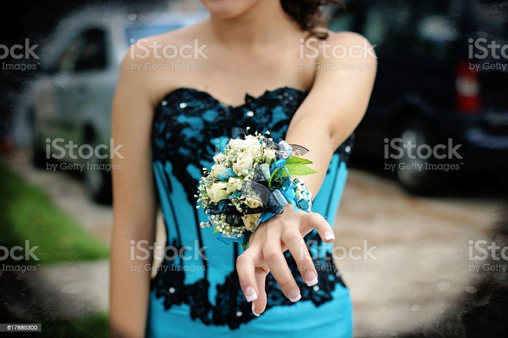 wrist corsage stock photo