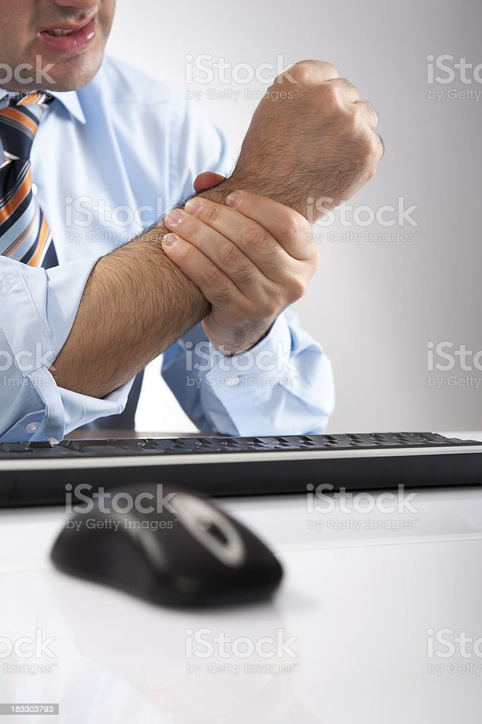 Wrist Pain and Mouse-Keyboard royalty-free stock photo