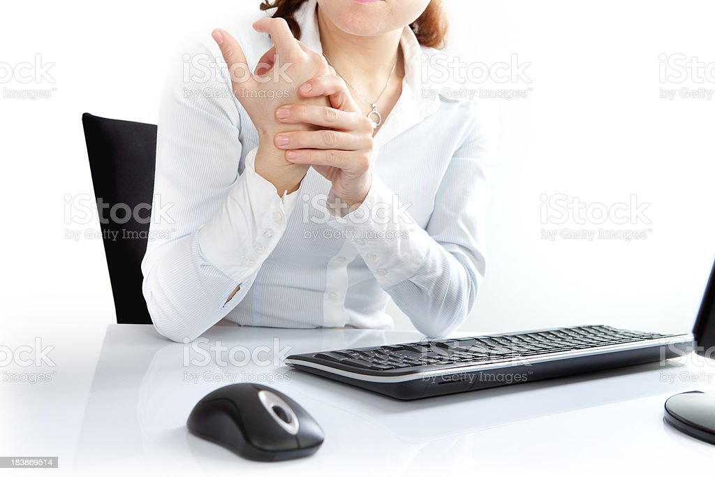 Wrist Pain and Mouse-Keyboard stock photo