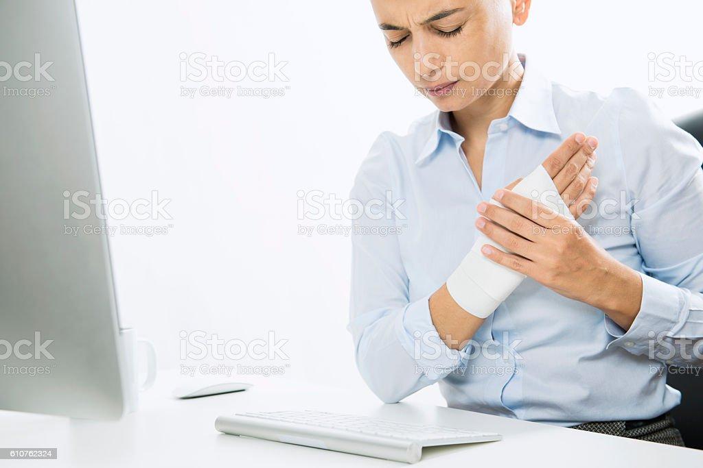 Wrist Pain and Plaster stock photo