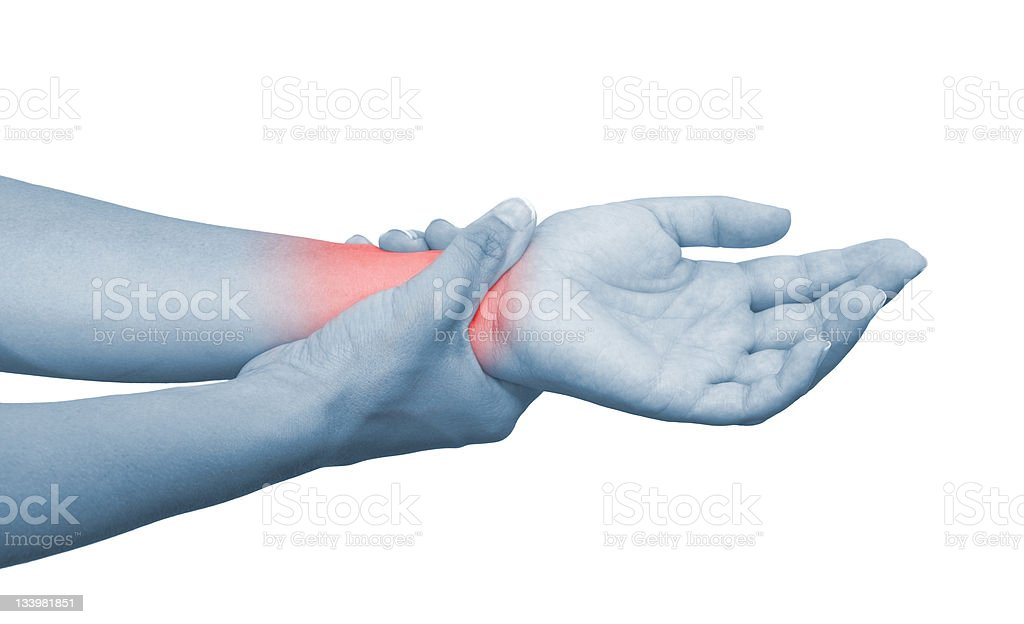 Wrist pain represented by inflamed pink area royalty-free stock photo