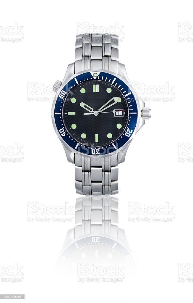 Wrist watch in white background. stock photo