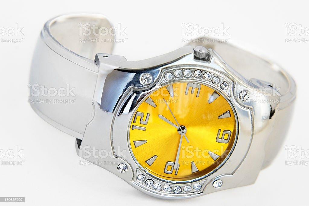 Wrist watch-artificial brilliants stock photo