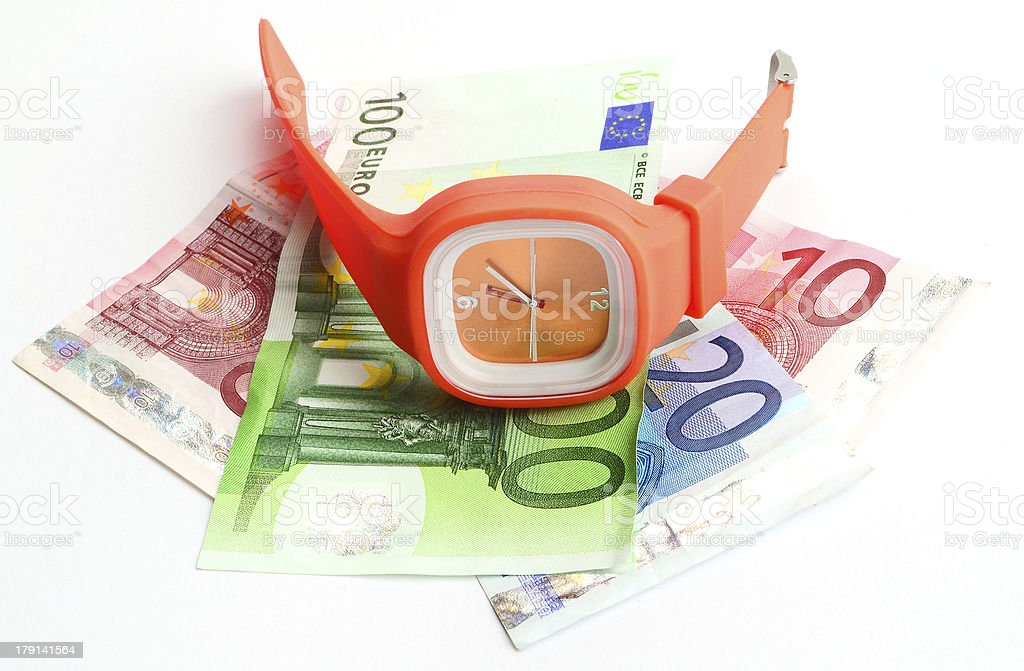 wristlet watch with banknotes royalty-free stock photo