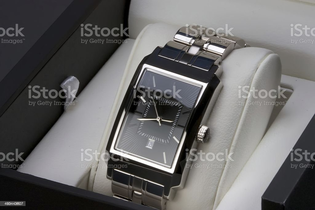 Wristwatch in Gift Box stock photo