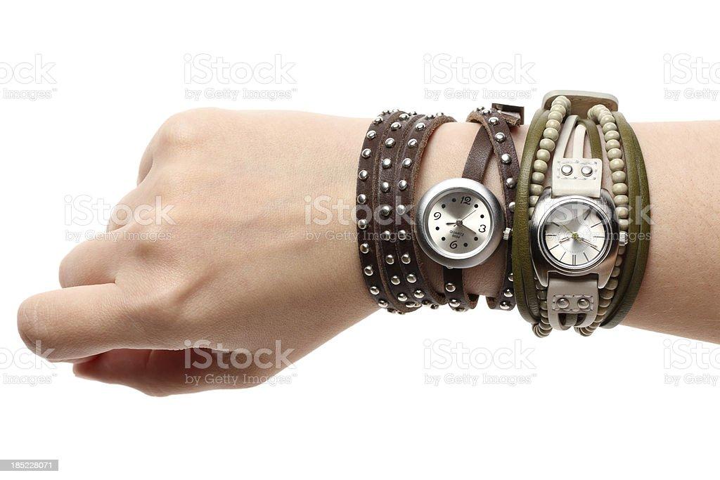 Wristwatch on hand stock photo