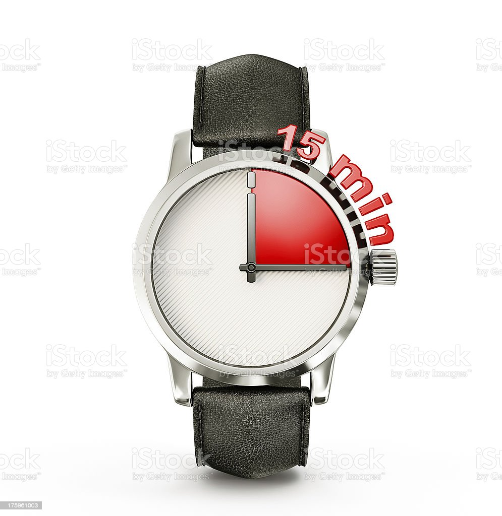 A wristwatch showing a fifteen minute timescale stock photo
