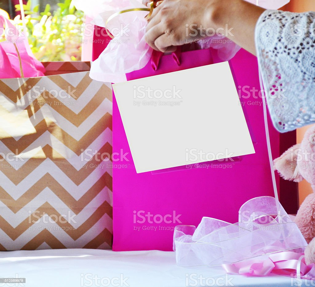 Write Copy Baby Shower Gift stock photo