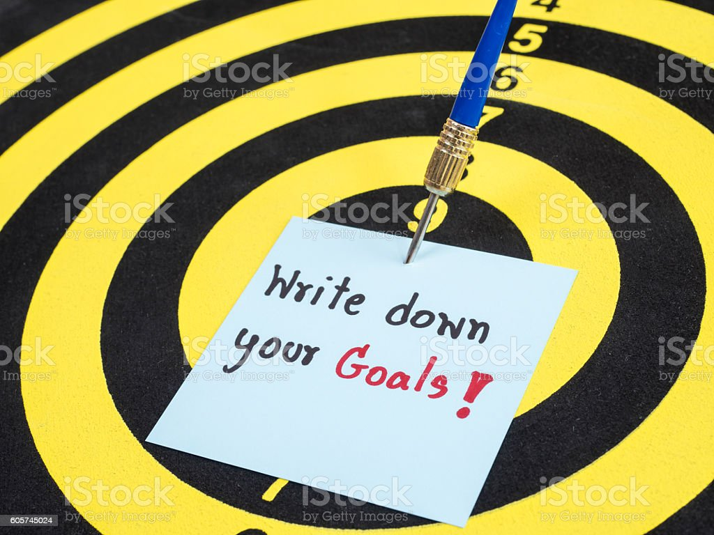 Write down your goals 2 stock photo
