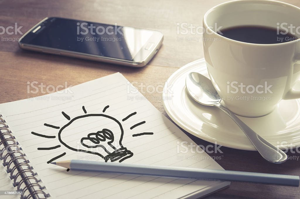 Write idea paper with coffee cup and smart phone stock photo