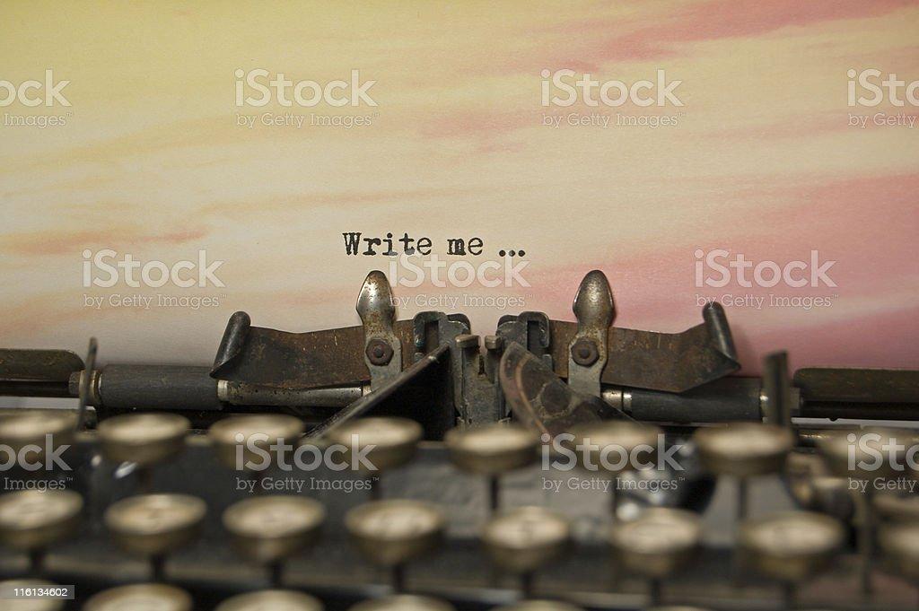 Write Me on antique typewriter stock photo